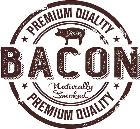 Premium Bacon Vintage Stamp Sign Vector
