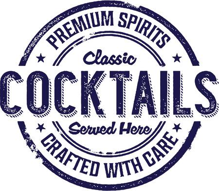 Vintage Style Cocktail Beverage Sign Illustration