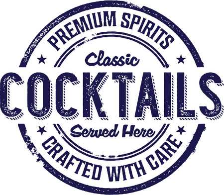 alcoholic beverage: Vintage Style Cocktail Beverage Sign Illustration