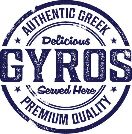 kebab: Vintage Style Greek Gyros Sign