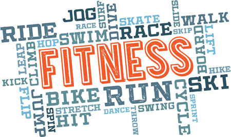 Physical Fitness Word Cloud Illustration