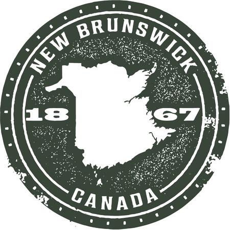 Vintage New Brunswick Canadian Province Stamp Illustration