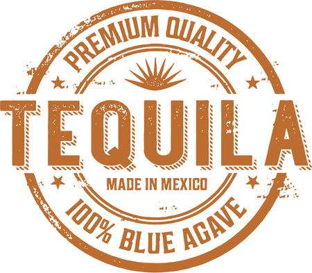 Vintage Tequila Alcohol Stamp Label Illustration