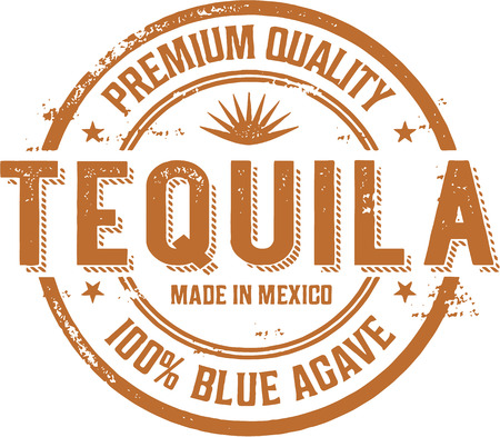 mexico: Vintage Tequila Alcohol Stamp Label Illustration