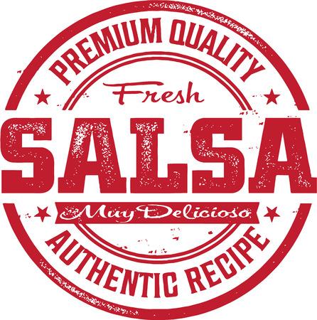 Weinlese-mexikanische Salsa Stamp Standard-Bild - 27874227