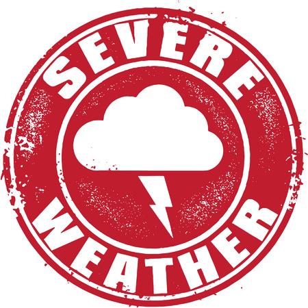 sever: Grunge Sever Weather Stamp Illustration