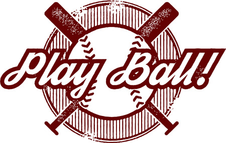 Play Ball Baseball or Softball Sport Stamp Illustration