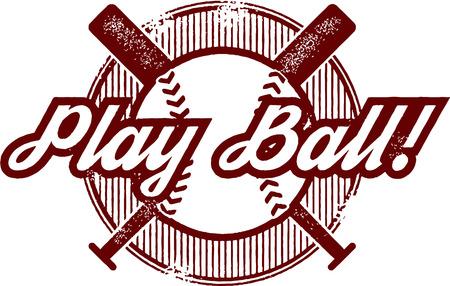 Play Ball Baseball or Softball Sport Stamp Illustration