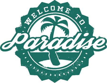 Bienvenue au paradis de vacances Stamp Banque d'images - 27874233