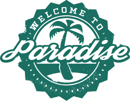 Welcome to Paradise Vacation Stamp
