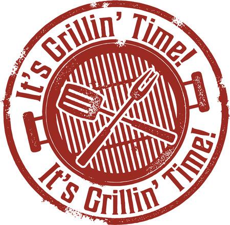 E 's BBQ Grilling Tempo Vettoriali