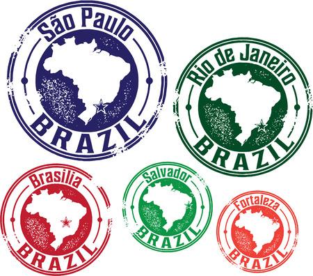 estampilla: Sellos Brasil Sur de viajes American Vectores