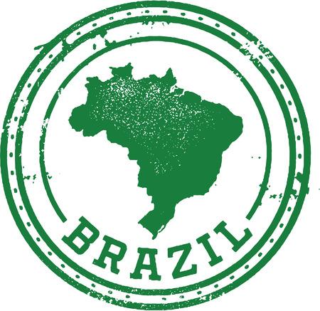 Brazilië Zuid-Amerika Reizen Stamp Stock Illustratie