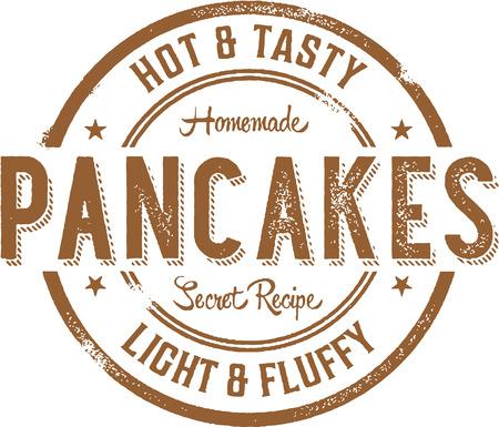 Hot Pannenkoeken Ontbijt Stamp Stock Illustratie
