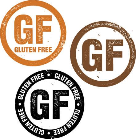 gluten free: Gluten Free Food Stamp Illustration