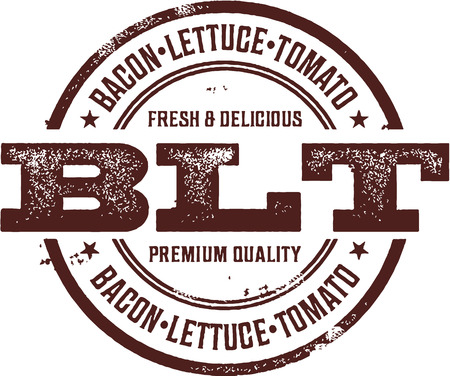 deli: Bacon Lettuce Tomato BLT Sandwich Stamp Illustration