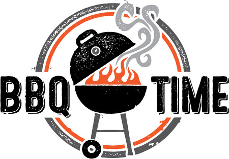 Barbecue BBQ Time Stamp Vector
