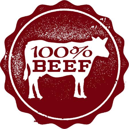 100 牛肉ゴム印  イラスト・ベクター素材