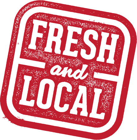 Fresh and Local Product Food Stamp Vector
