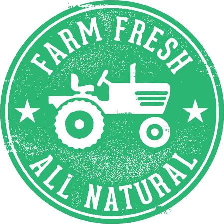농장 신선한 모든 자연 스탬프