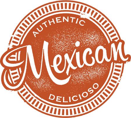 mat: Äkta mexikansk mat Stamp Illustration