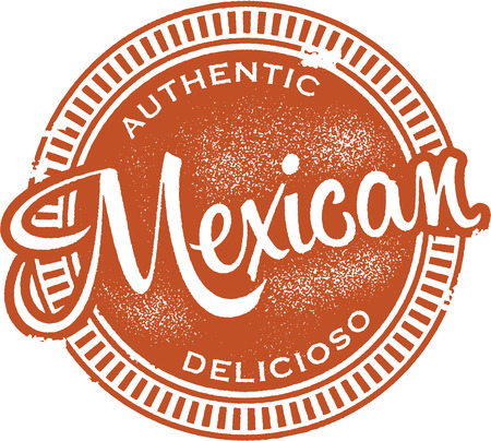 Authentic Mexican Food Stamp Vector