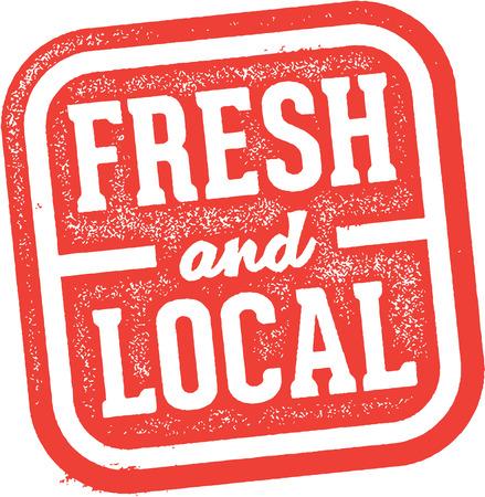Frische und lokale Produkte Lebensmittel Stempel Illustration