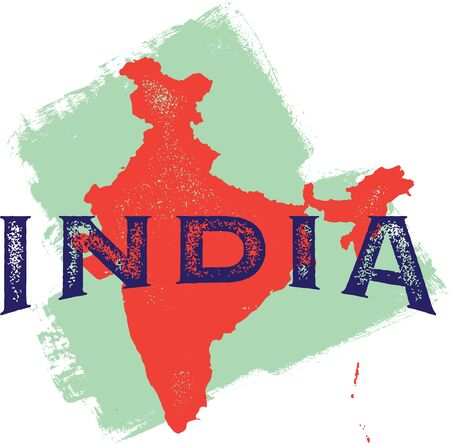Vintage India Country Sign Vector