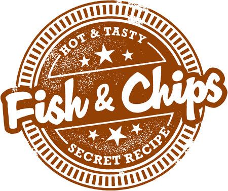 fish and chips: Pescado y patatas fritas Menú Stamp Vectores