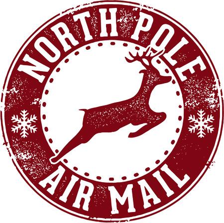 sello: Correo a�reo del Polo Norte de Santa Matasellos Vectores