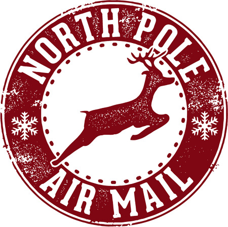 North Pole Air Mail Santa Postmark Vector