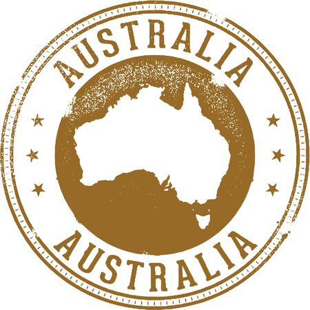 australia stamp: Vintage Australia Travel Stamp Illustration