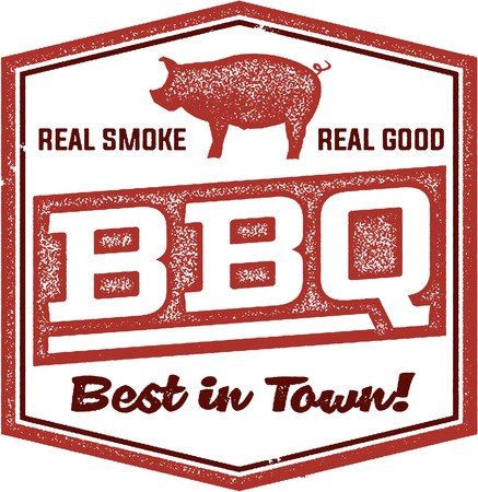 stamp: Vintage BBQ Restaurant Sign