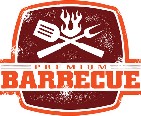 barbecue fire: Vintage BBQ Restaurant Sign
