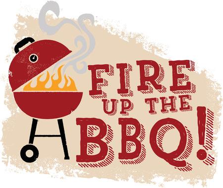grill meat: Allumez le barbecue Grill Illustration