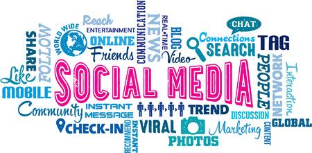 소셜 미디어 텍스트 및 아이콘 단어 구름