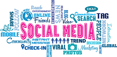 Social Media Text and Icon Word Cloud Illustration