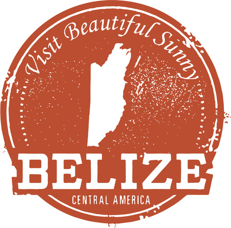 Vintage Belize Travel Stamp Illustration