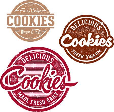 galleta de chocolate: Dulce al horno cookies  Vectores