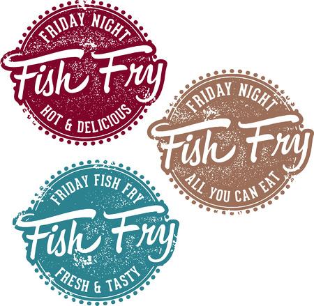金曜日の魚のフライ  イラスト・ベクター素材