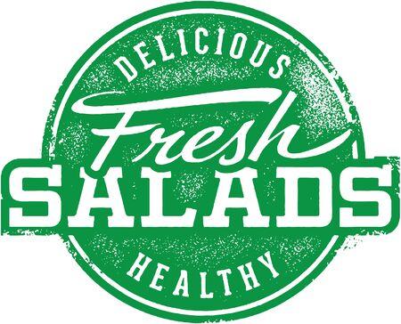 Fresh Healthy Salads Restaurant Stamp Illusztráció