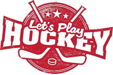 Lassen Sie uns spielen Hockey Sport Briefmarken Standard-Bild - 42090844