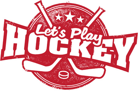 hockey puck: Lets Play Hockey Sports Stamp Illustration