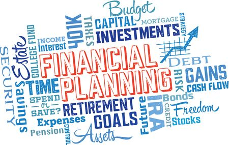 estate planning: Financial Planning Word and Icon Cloud Collage