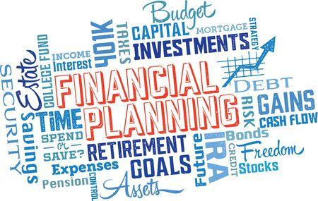 Planificación Financiera Word and Icon Cloud Collage Foto de archivo - 70829006