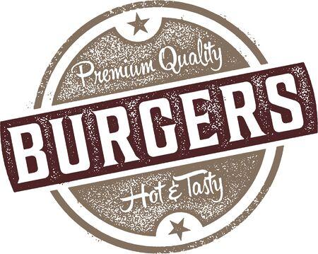 Premium Burgers Vintage Menu Stamp