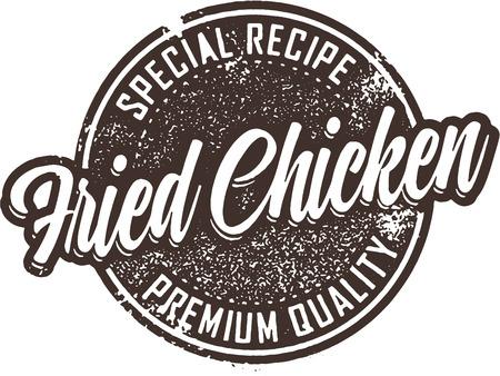 Vintage Fried Chicken Restaurant Sign Illustration