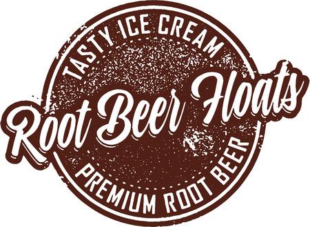 Root Beer Floats Vintage Zarejestruj Ilustracje wektorowe