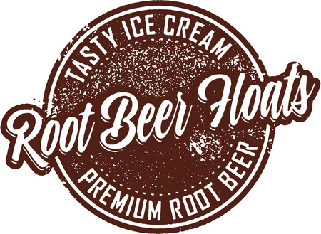 Root Beer Floats Vintage Sign Illustration