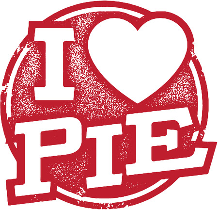 I Love Pie Stamp Illustration